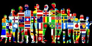 Menschen und Flaggen - interkulturell